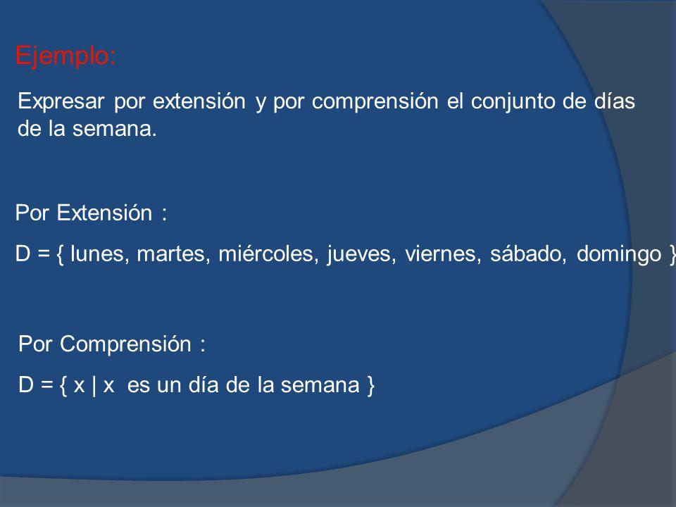 Ejemplo: Expresar por extensión y por comprensión el conjunto de días de la semana. Por Extensión :
