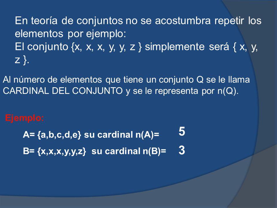 En teoría de conjuntos no se acostumbra repetir los elementos por ejemplo: