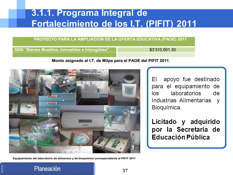 3.1.1. Programa Integral de Fortalecimiento de los I.T. (PIFIT) 2011