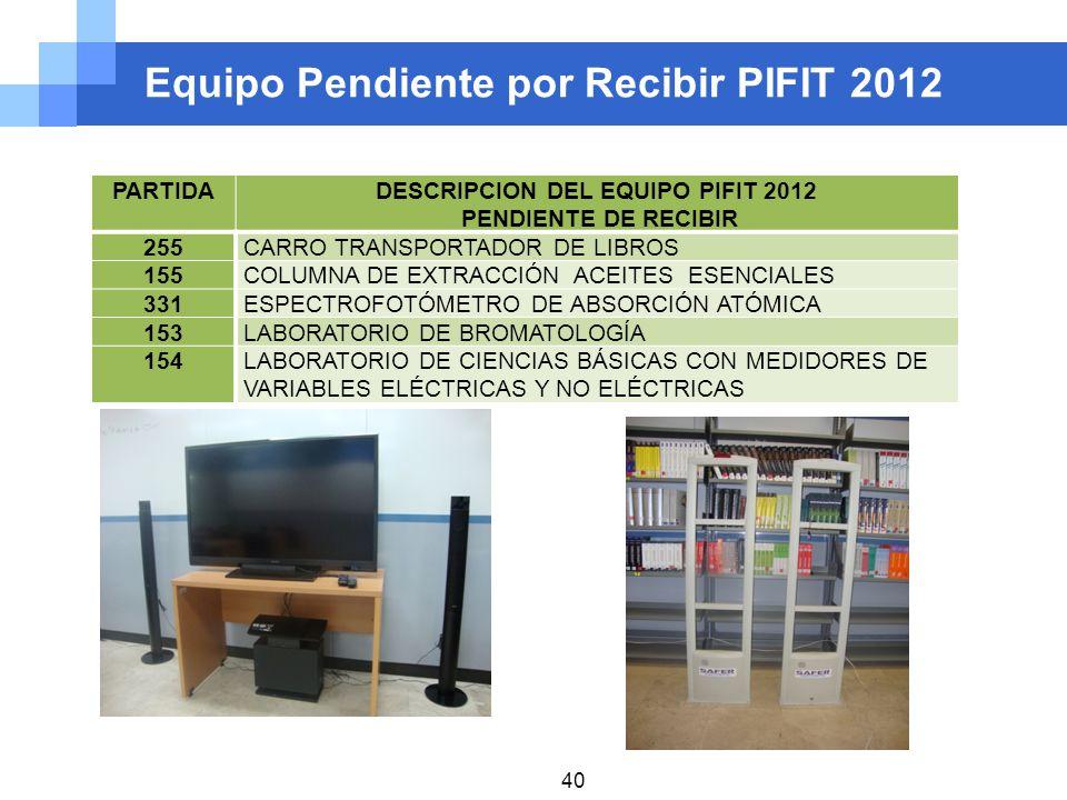 Equipo Pendiente por Recibir PIFIT 2012