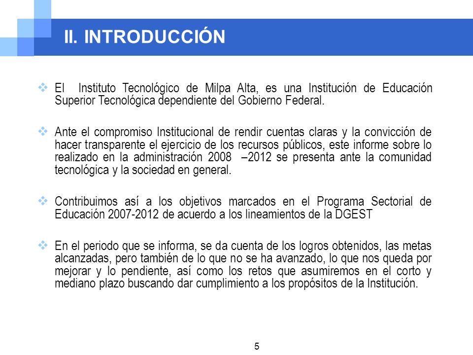 II. INTRODUCCIÓN El Instituto Tecnológico de Milpa Alta, es una Institución de Educación Superior Tecnológica dependiente del Gobierno Federal.