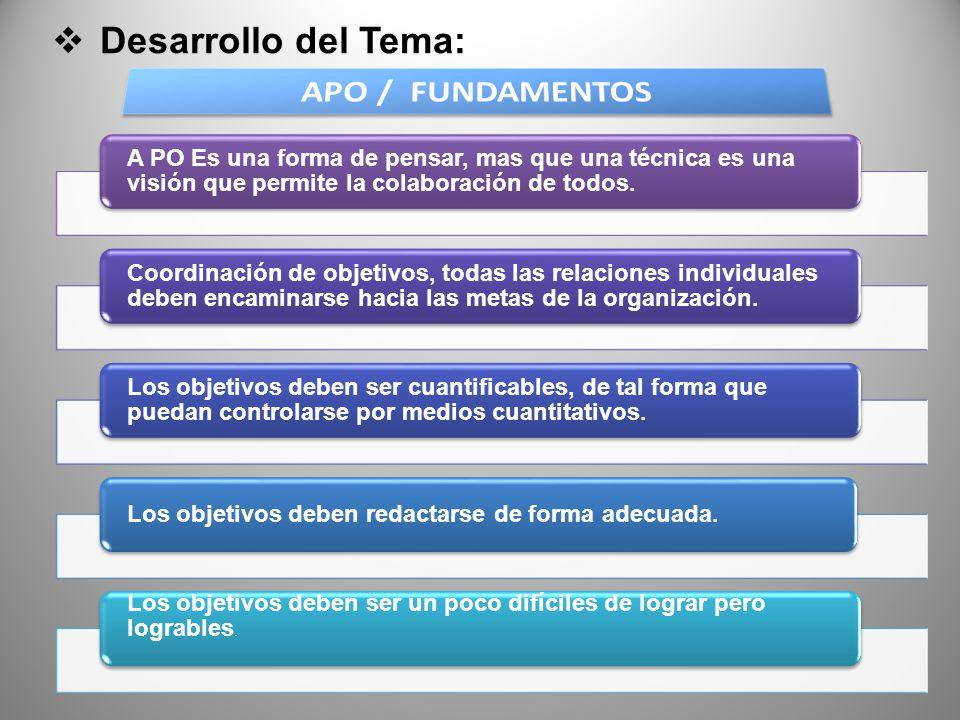 Desarrollo del Tema: APO / FUNDAMENTOS