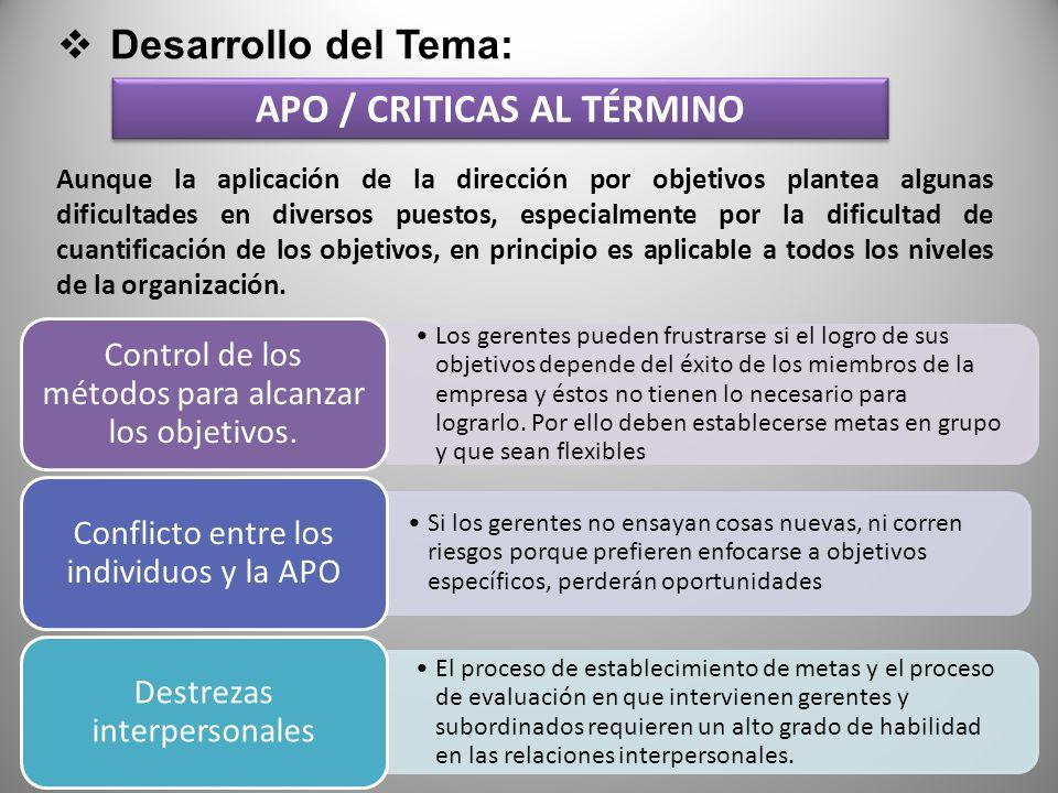 APO / CRITICAS AL TÉRMINO