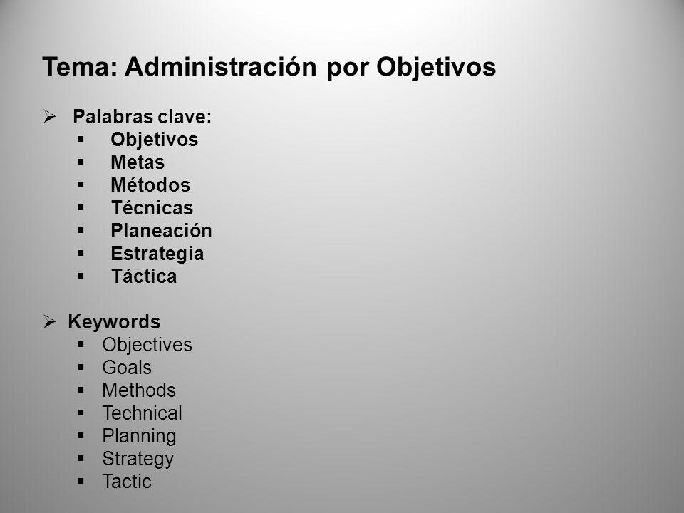 Tema: Administración por Objetivos