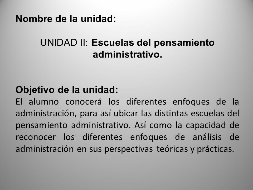 UNIDAD II: Escuelas del pensamiento administrativo.
