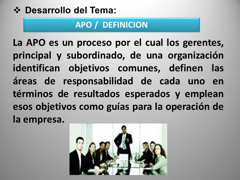 Desarrollo del Tema: APO / DEFINICION.
