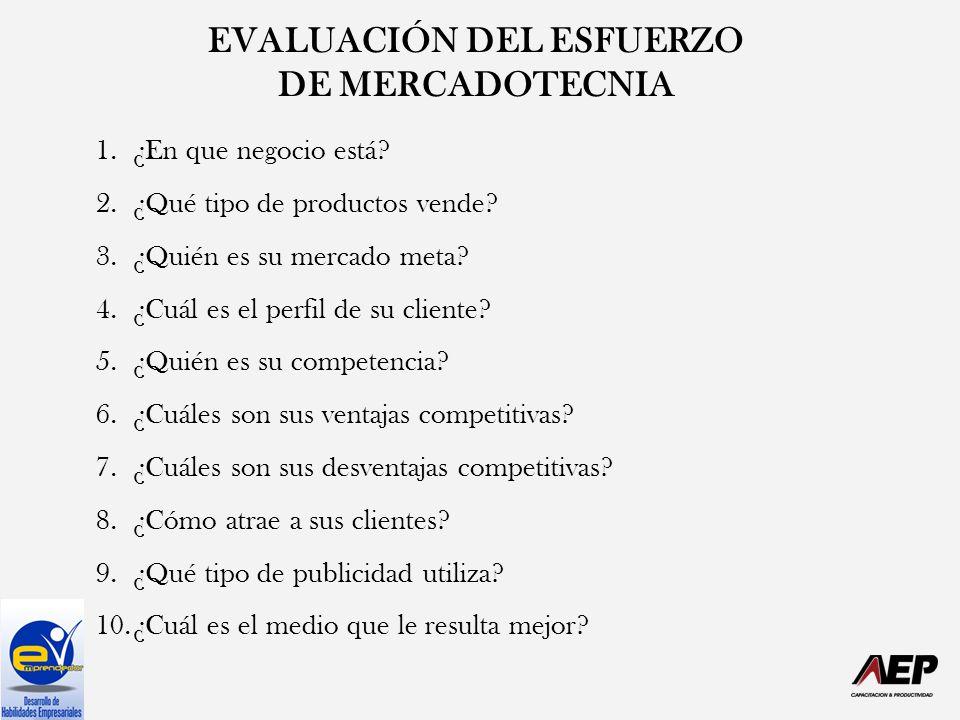 EVALUACIÓN DEL ESFUERZO DE MERCADOTECNIA