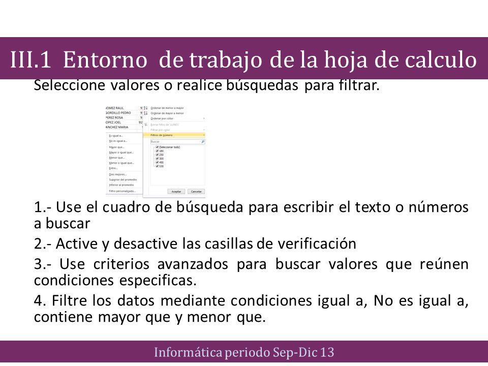 III.1 Entorno de trabajo de la hoja de calculo