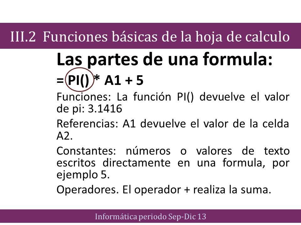 Las partes de una formula: