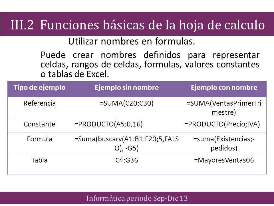 Utilizar nombres en formulas.