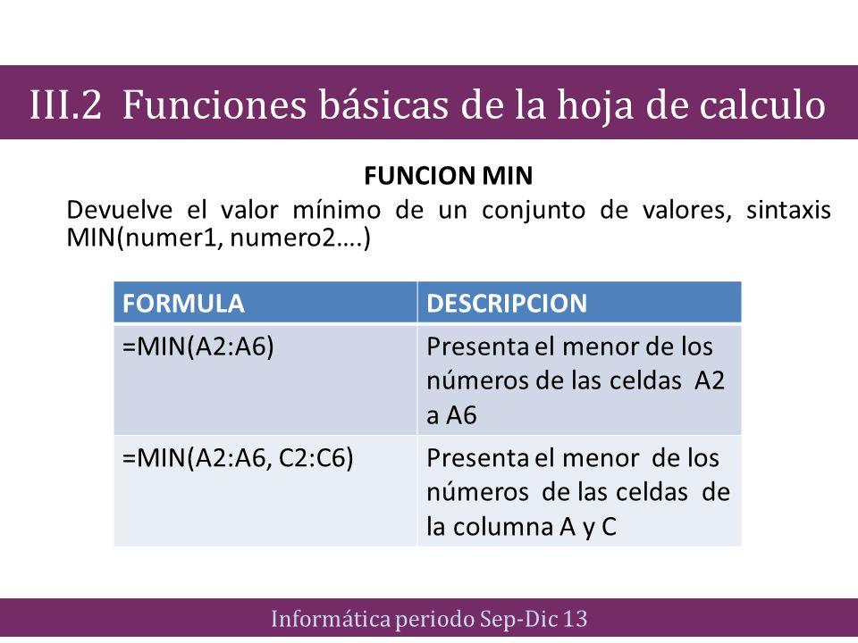 III.2 Funciones básicas de la hoja de calculo
