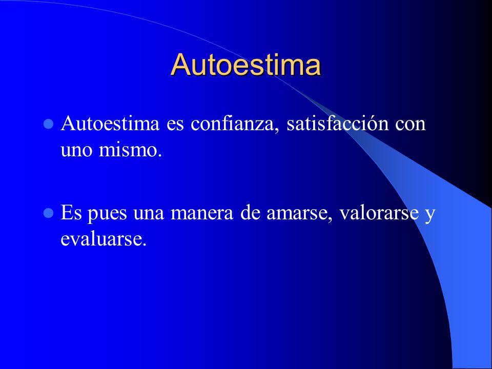 Autoestima Autoestima es confianza, satisfacción con uno mismo.