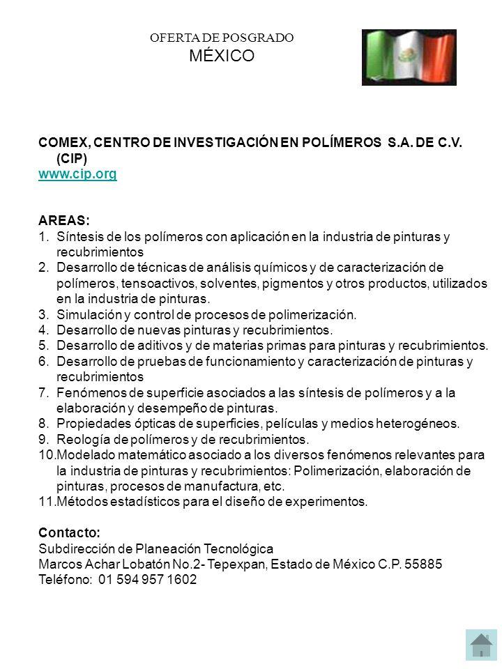 MÉXICO OFERTA DE POSGRADO