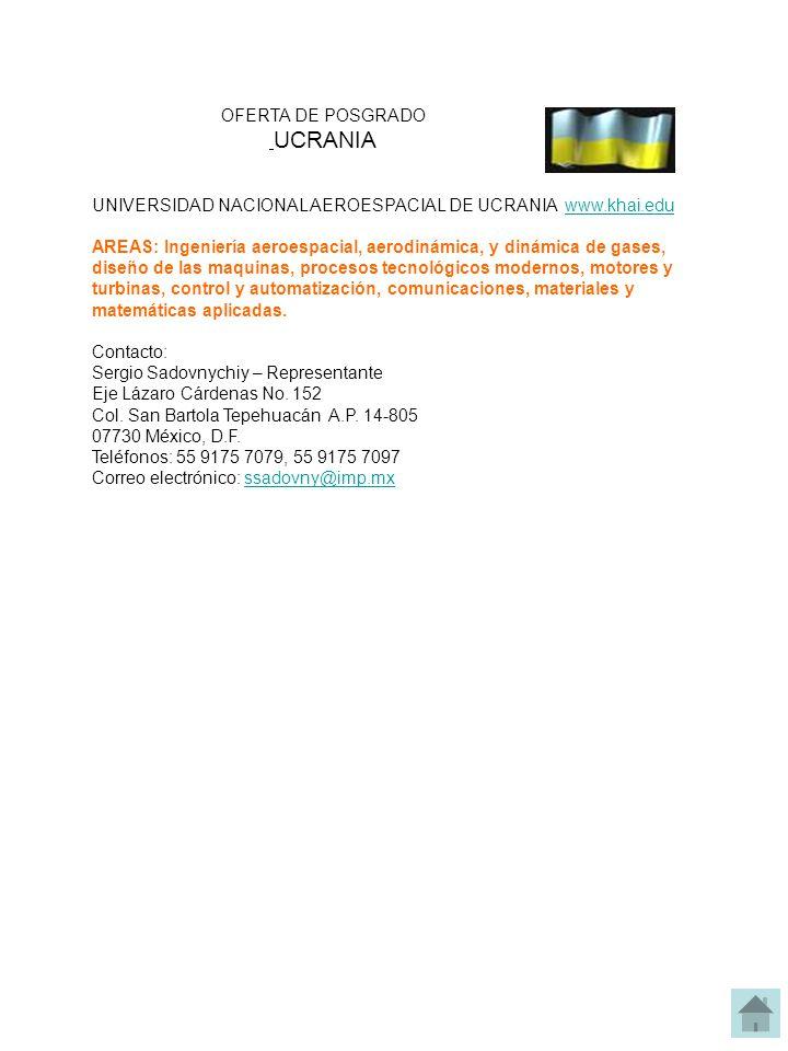 OFERTA DE POSGRADO UCRANIA. UNIVERSIDAD NACIONAL AEROESPACIAL DE UCRANIA www.khai.edu.