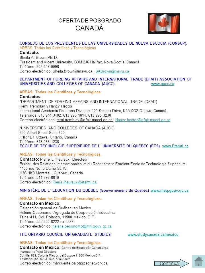 CANADÁ OFERTA DE POSGRADO Continua Contacto: Contactos: