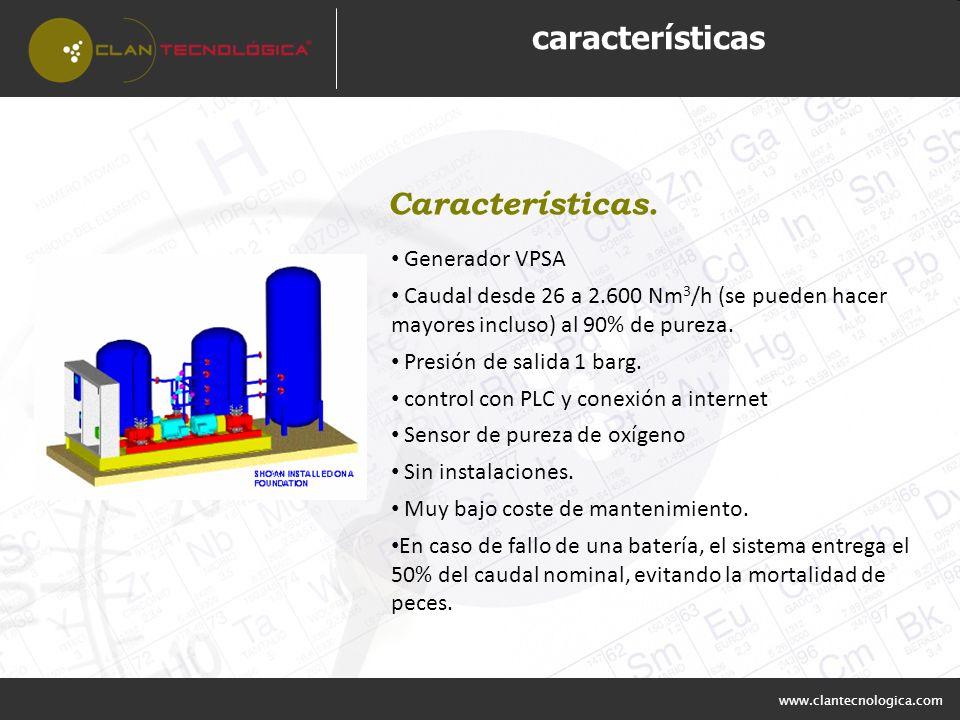 características Características. Generador VPSA