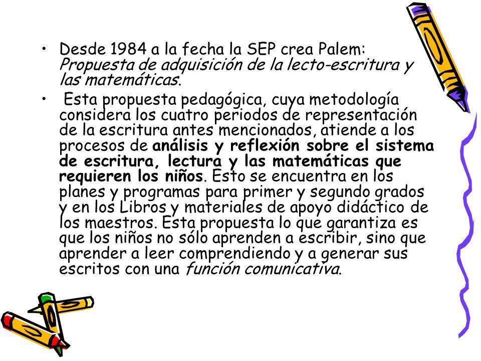 Desde 1984 a la fecha la SEP crea Palem: Propuesta de adquisición de la lecto-escritura y las matemáticas.
