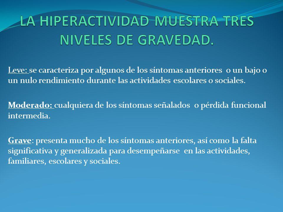LA HIPERACTIVIDAD MUESTRA TRES NIVELES DE GRAVEDAD.