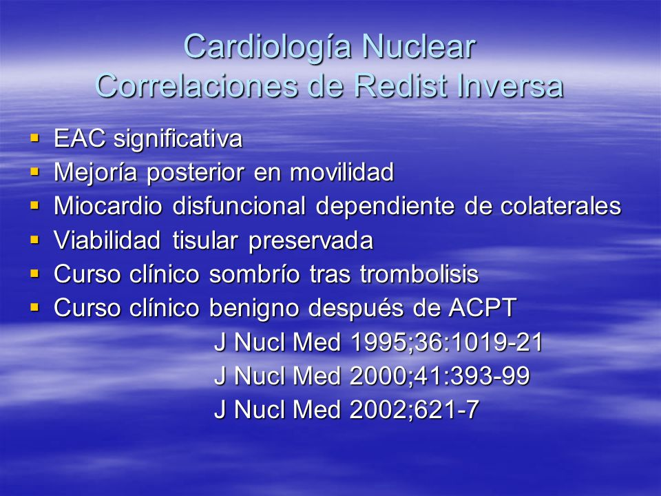 Cardiología Nuclear Correlaciones de Redist Inversa