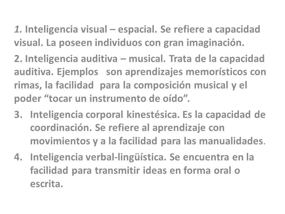 1. Inteligencia visual – espacial. Se refiere a capacidad visual