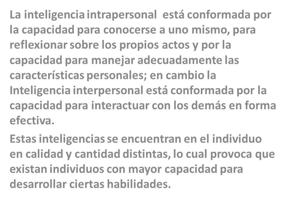 La inteligencia intrapersonal está conformada por la capacidad para conocerse a uno mismo, para reflexionar sobre los propios actos y por la capacidad para manejar adecuadamente las características personales; en cambio la Inteligencia interpersonal está conformada por la capacidad para interactuar con los demás en forma efectiva.