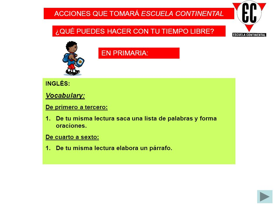 ACCIONES QUE TOMARÁ ESCUELA CONTINENTAL
