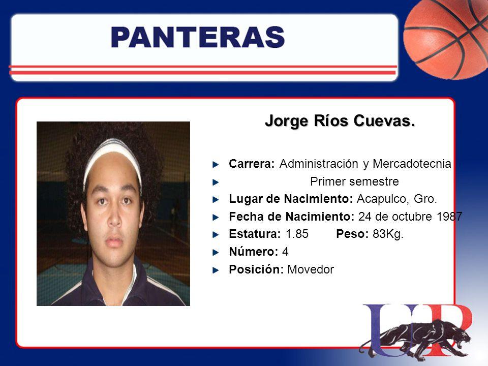 Jorge Ríos Cuevas. Carrera: Administración y Mercadotecnia
