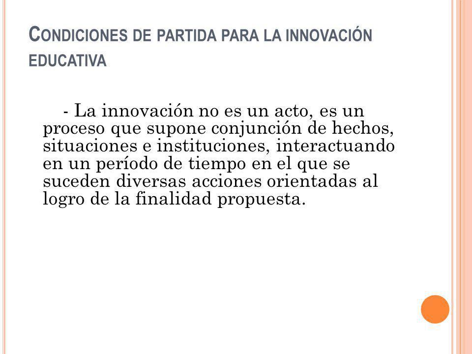 Condiciones de partida para la innovación educativa