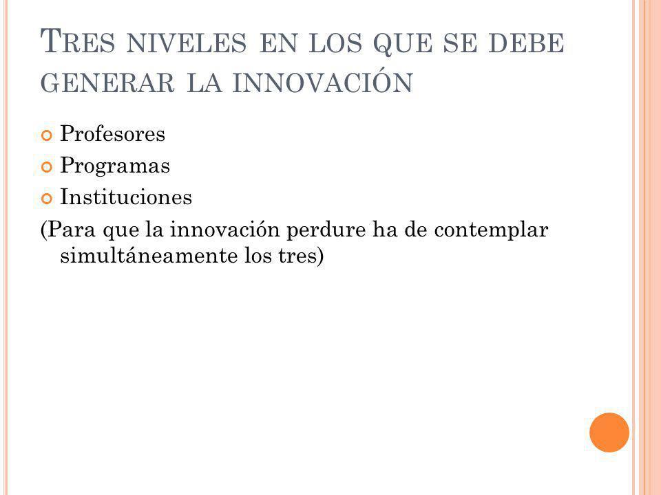 Tres niveles en los que se debe generar la innovación