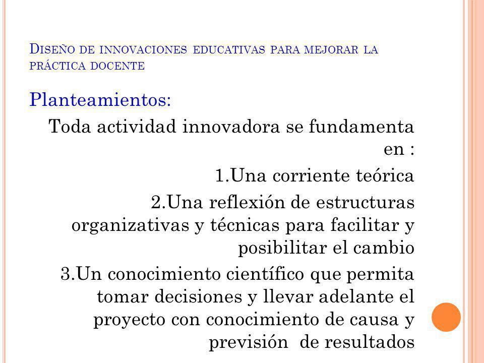 Diseño de innovaciones educativas para mejorar la práctica docente