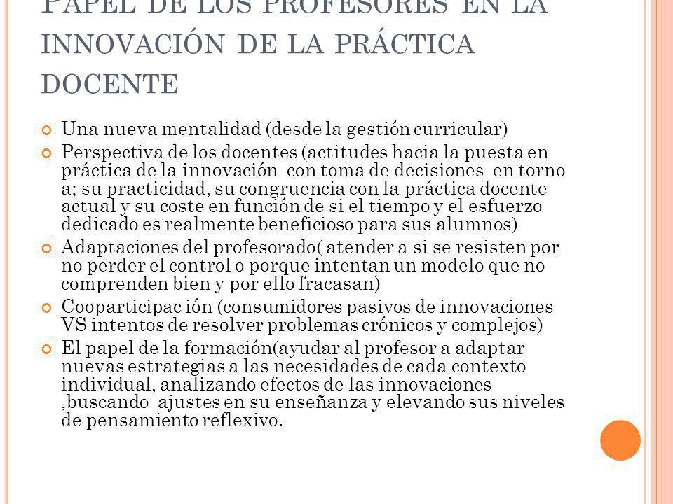 Papel de los profesores en la innovación de la práctica docente