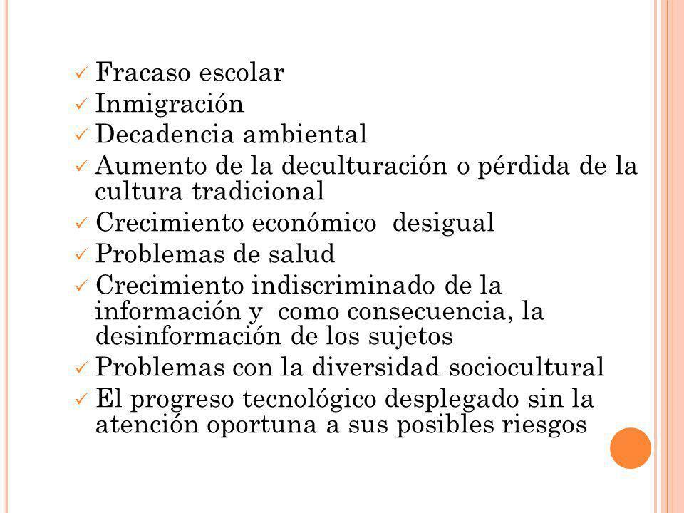 Fracaso escolar Inmigración. Decadencia ambiental. Aumento de la deculturación o pérdida de la cultura tradicional.