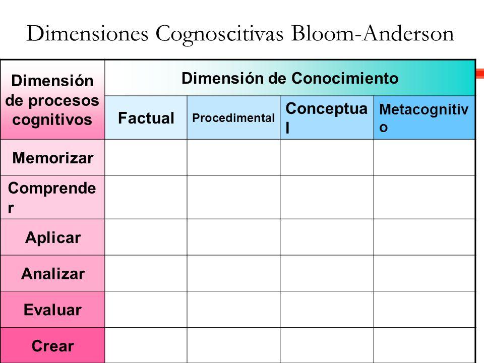 Dimensión de procesos cognitivos