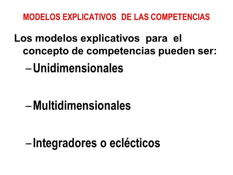 MODELOS EXPLICATIVOS DE LAS COMPETENCIAS
