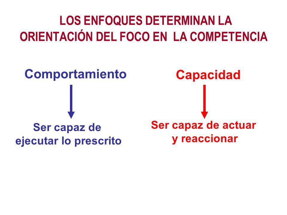LOS ENFOQUES DETERMINAN LA ORIENTACIÓN DEL FOCO EN LA COMPETENCIA