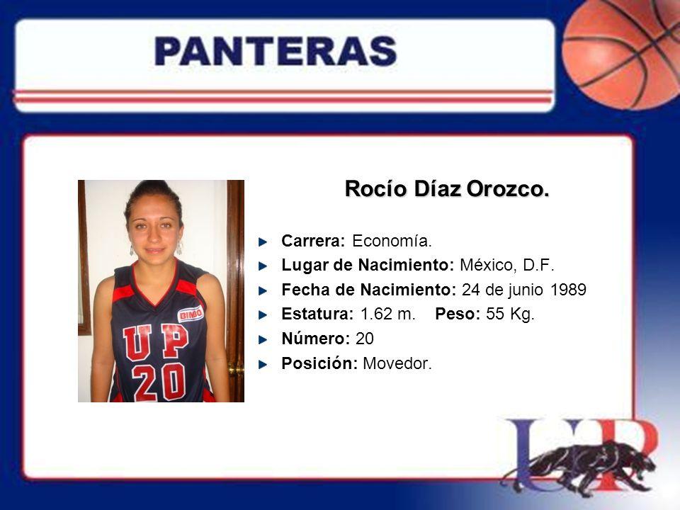 Rocío Díaz Orozco. Carrera: Economía.