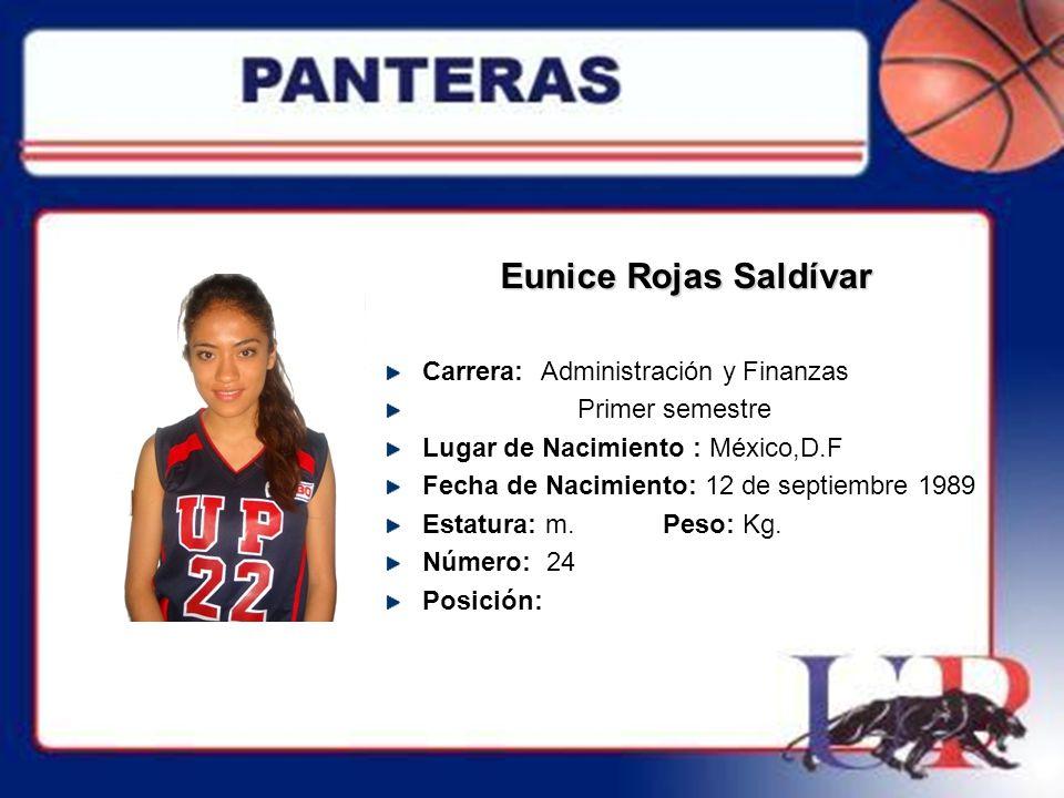 Eunice Rojas Saldívar Carrera: Administración y Finanzas