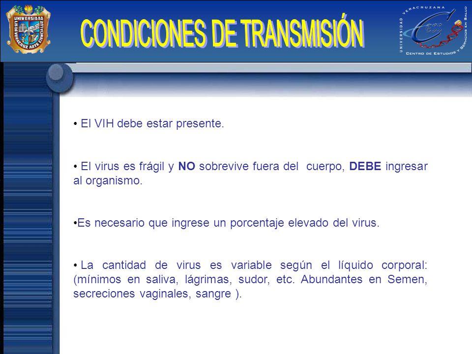 CONDICIONES DE TRANSMISIÓN