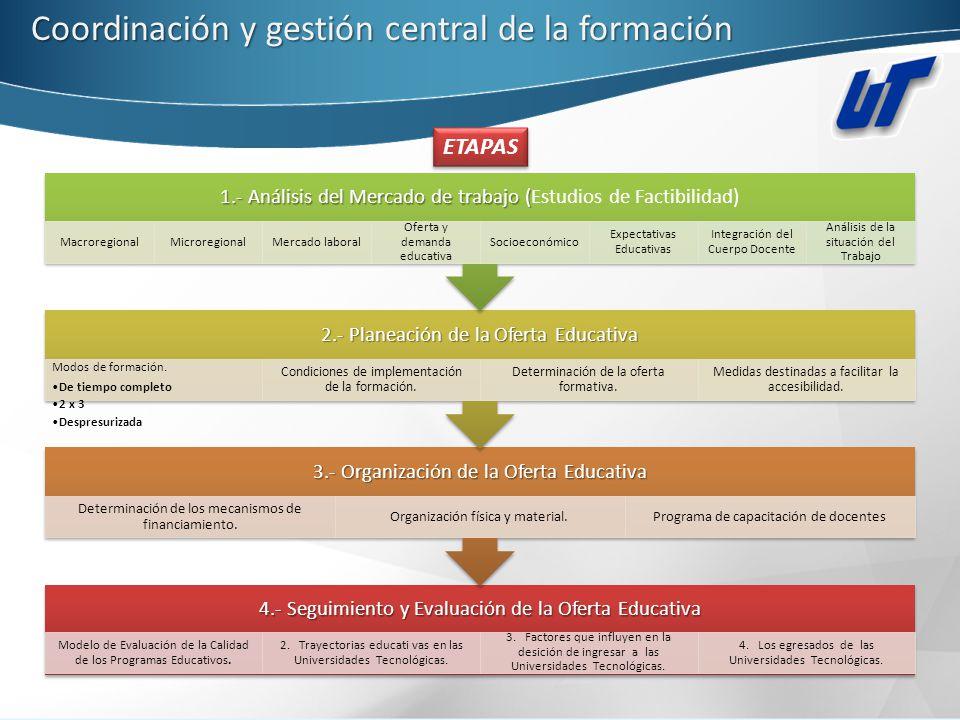 Coordinación y gestión central de la formación