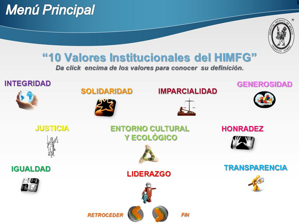 Menú Principal 10 Valores Institucionales del HIMFG INTEGRIDAD