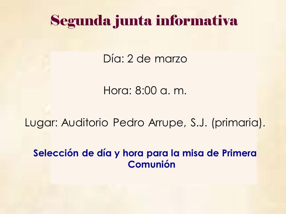 Selección de día y hora para la misa de Primera Comunión