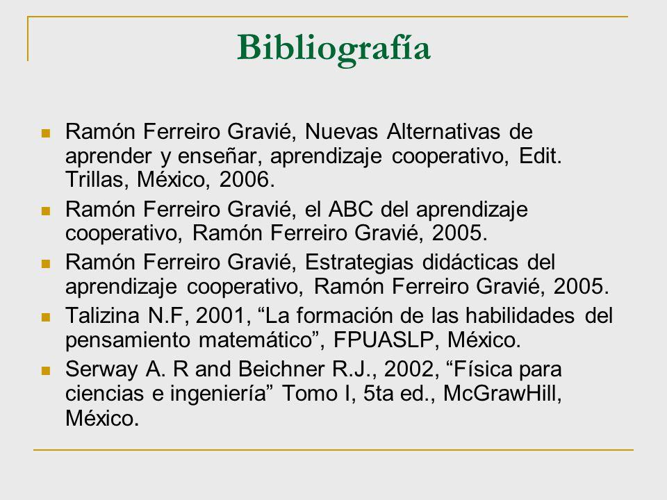 Bibliografía Ramón Ferreiro Gravié, Nuevas Alternativas de aprender y enseñar, aprendizaje cooperativo, Edit. Trillas, México, 2006.