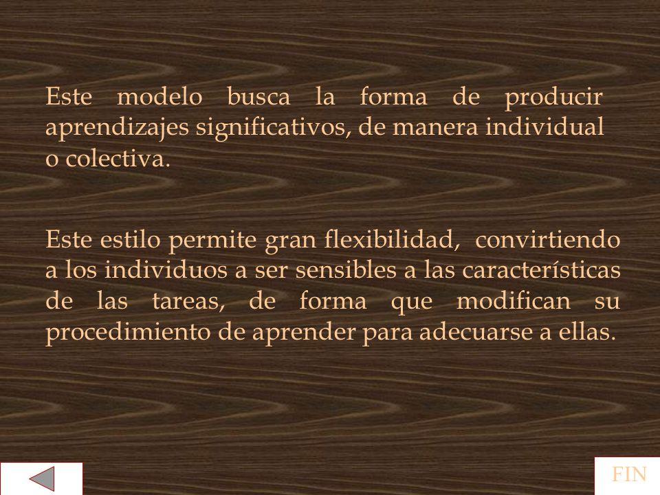Este modelo busca la forma de producir aprendizajes significativos, de manera individual o colectiva.