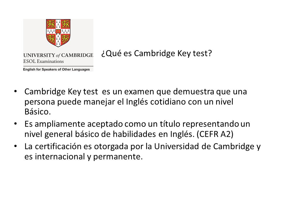 ¿Qué es Cambridge Key test