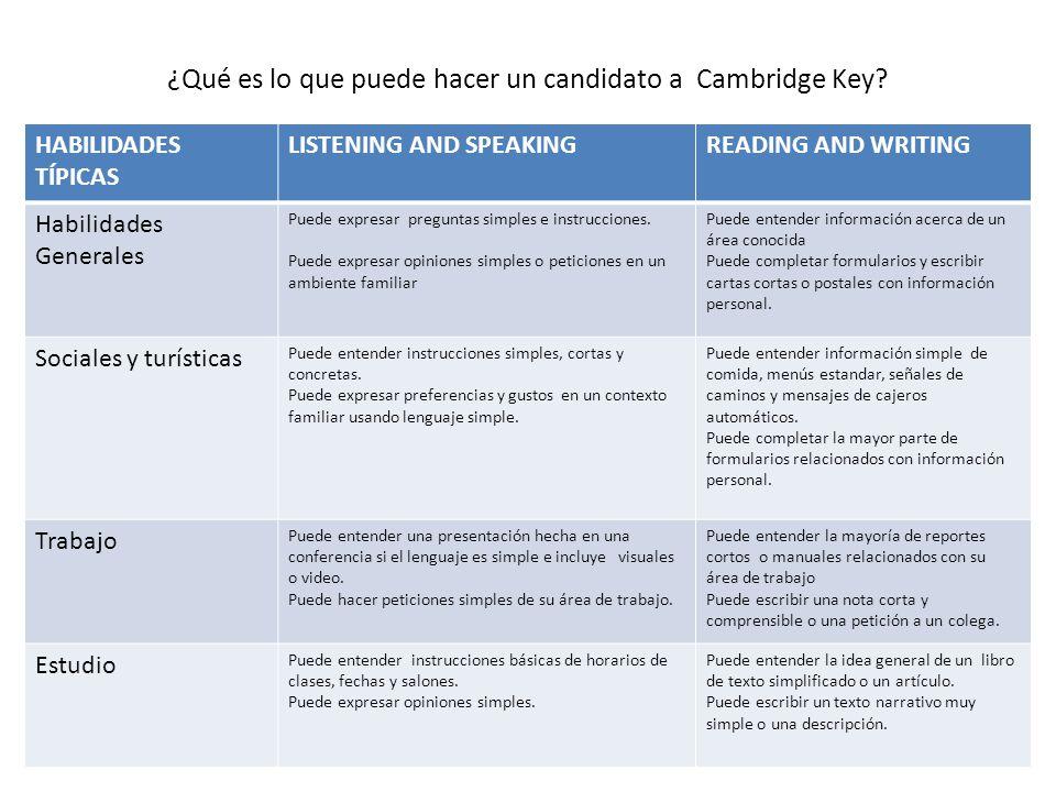 ¿Qué es lo que puede hacer un candidato a Cambridge Key