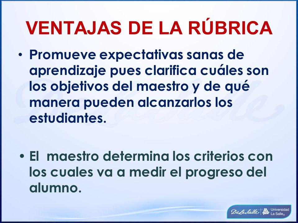 VENTAJAS DE LA RÚBRICA