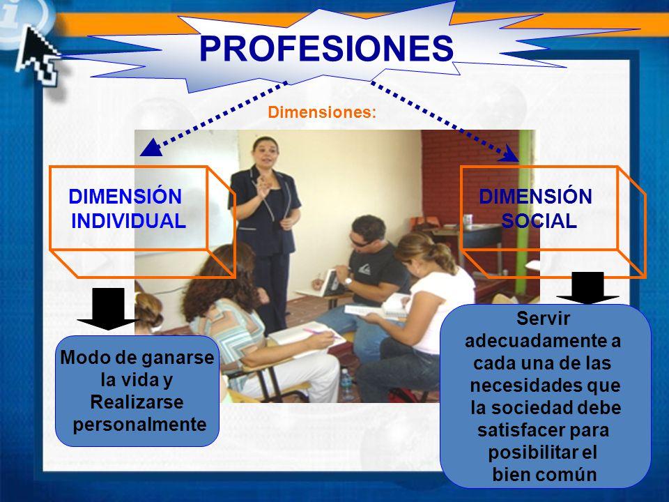 PROFESIONES DIMENSIÓN INDIVIDUAL DIMENSIÓN SOCIAL Servir