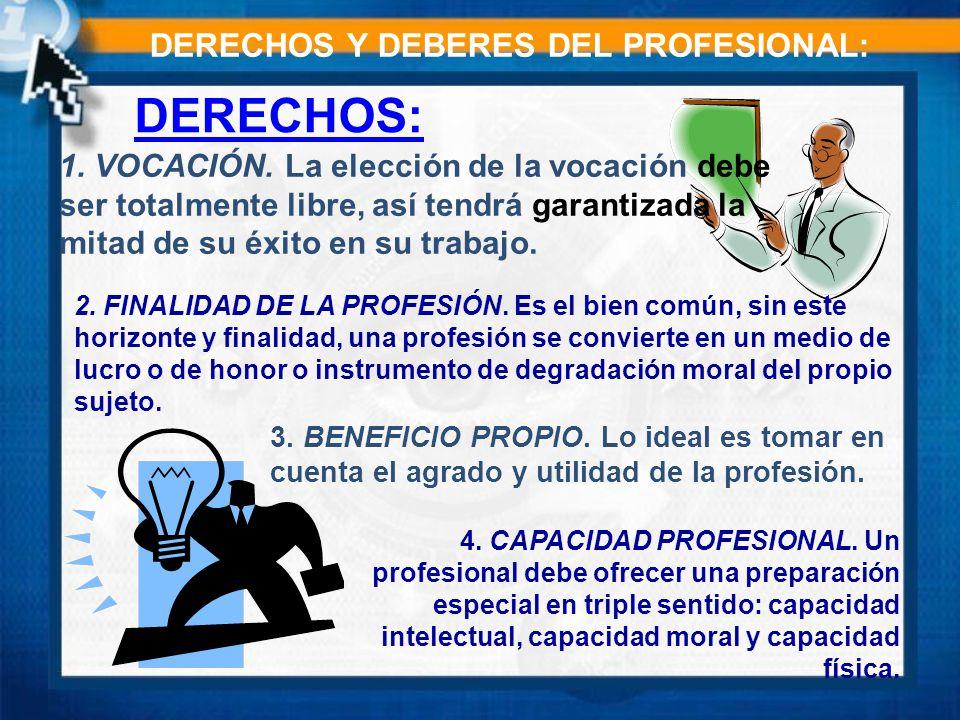 DERECHOS: DERECHOS Y DEBERES DEL PROFESIONAL: