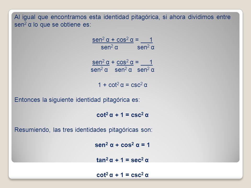 Al igual que encontramos esta identidad pitagórica, si ahora dividimos entre sen2 α lo que se obtiene es: