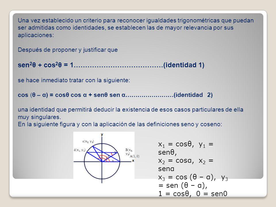 sen2θ + cos2θ = 1…………………………………(identidad 1)